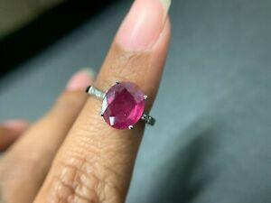 Natural Red Oval Ruby 5.75 Ct Gemstone Ring 925 Silver Wedding Chanthaburi SZ 6