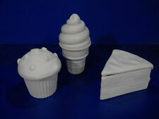 Sweet Treats - 3 bisque boxes - cupcake, ice cream cone, cake U-Paint