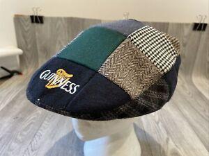 Vintage Guinness Flat Cap Hat Tweed Patchwork Wool Blend Large 61cm Mens Vgc