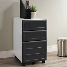 White Grey 3 Drawer File Cabinet Home Office Work Study Living Room Furniture