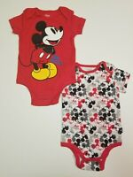 Mickey Mouse Baby Boys 2-Pack Bodysuits Infant One Piece 0-3, 6-9,12 Months