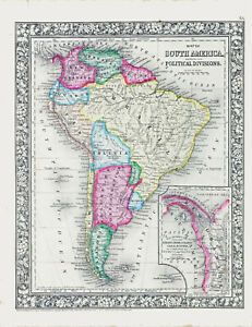 1860 Hand Color Map of SOUTH AMERICA - Great Detail - Much Different Borders