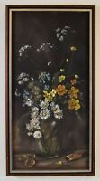 Lovely Vintage Still Life Floral & Vase Oil Painting Signed Judy Dailey