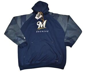 Majestic Big & Tall Mens MLB Milwaukee Brewers Thermabase Hoodie NWT 2XL