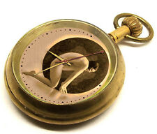 COLLECTIBLE VINTAGE 50s EROTIC ART HEAVY BRASS POCKET WATCH, 17 JEWEL MECHANICAL