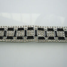 Hotfix black rectangle glass crystal faceted rhinestones tape chain 39cm TL20