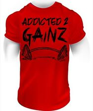 Addicted to Gainz - fitness tee workout t-shirt muscle bodybuilding gym training