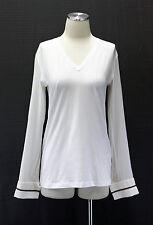 NWT.$1095 Brunello Cucinelli Womens Silk Chiffon Monili Sleeve Cuff V-Neck Top M