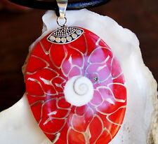 Modern Oval 6 x 4 cm Silber Kettenanhänger Abalone Muschel Shivas Auge Rot Herz