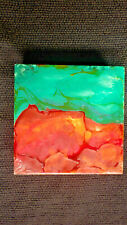 Arla Smith-Evanoff Abstract Encaustic Painting On Clayboard with Wood Frame 6x6