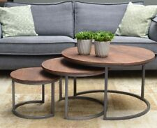 3er Set Coffee Tables Victor round Metal Mango Nesting Side Sofa