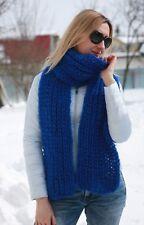 Premium Mohair SCARF hand knit Blue  Men Women Jane Rodas