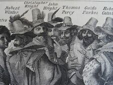 London GUY FAWKES AND THE CONSPIRATORS Original Victorian Print 1878