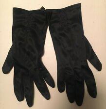 Women's Vintage Gloves 100% Nylon Dark Blue Embroidered - New, Never Worn