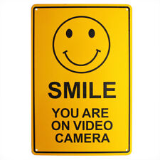 SURVEILLANCE SIGN SMILE You're on VIDEO CAMERA CCTV 200x300mm Metal Best Quality