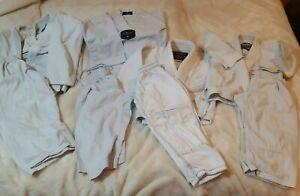 LOT of 4 BJJ GI Kids Brazilian Jiu Jitsu Uniform Youth White 000/110, Y0 & TKD