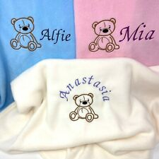Embroidered Personalised Teddy Bear Baby Blanket Soft & Choice of 3 Colours