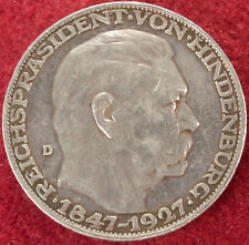 Germany Silver Medallion Commemorating Hindenburg's 80th Birthday (1927) (E1809)
