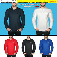 Air France Long Sleeve Polo T Shirt COTTON EMBROIDERED Airplane Logo Mens Gift