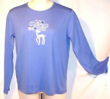 NEW $24 Tag M&C Sportswear XL Blue CHRISTMAS HOLIDAY Top Silver DEER &SNOWFLAKES