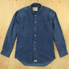 LEVI'S mens denim work shirt SMALL faded blue metal buttons red tab