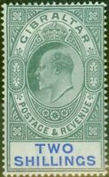 Gibraltar 1903 2s Green & Blue SG52 Fine & Fresh Mtd Mint