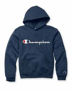 Champion Kids Hoodie Sweatshirt Athletics Pullover Script Logo Midweight Wicking