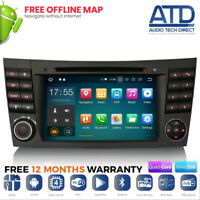 """7"""" Android 9.0 DAB Radio GPS SatNav CD Stereo For Mercedes E-Class W211 CLS W219"""