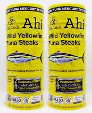 12 CANS Safe Catch Ahi WILD YELLOWFIN TUNA STEAKS Premium Slow Cooked 60oz TOTAL