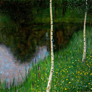 Lakeshore with Birches A2+ by Gustav Klimt High Quality Canvas Art Print