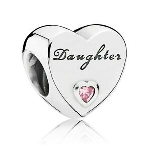 Brand New Authentic Pandora Sterling Silver Daughter Heart Charm 791726PCZ S925