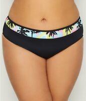Elomi BLACK Plus Size Malibu Days Mid-Rise Bikini Swim Bottom, US 12, UK 16