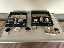 More details for large lot of silver plated cruets including 2 boxed sets some with spoons