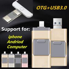 128 GB 3 in 1 FLASH DRIVE CHIAVETTA USB U DISK OTG chiavetta per Android IOS PC