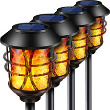 TomCare Solar Lights Metal Flickering Flame Solar Torches Lights Waterproof Duty