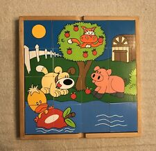Reversible 16 Large Piece Wooden Puzzle, Animals, 5 Puzzles In One