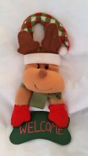 Reindeer Welcome Door Hanger Plush Holiday Christmas