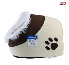 PET HOUSE IGLOO BED WARM SOFT PADDED WINTER FOR CAT DOG CUSHION KENNEL HOUSE HUT