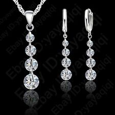 Women Wedding Gift CZ Crystal Rhinestone Jewelry Sets Necklace+Earring+Chain set
