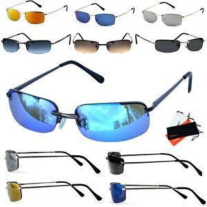 Sonnenbrille schmal Rechteckig Verspiegelt Blau Silber Schwarz Orange Rennec M5S