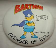 "Lg Bart Simpsons Bartman Avenger of Evil 1989 6"" Button Pin New NOS M Groening"