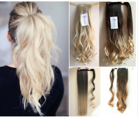 Wrap Around Ponytail Clip in Hair Extensions Hairpiece,Straight Curly Wavy Ombre