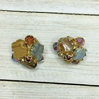 Vintage Vogue Signed Brown Amber Colored Earth Tone Clip On Earrings