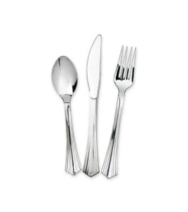 48x Quality Plastic Silver Cutlery Reusable Forks Knives Spoons Party Picnic BBQ
