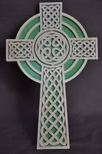 Celtic Gaelic Detailed  Scrolled Wooden Cross Wall Hanging Amish Made