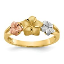 Genuine 14k Two Tone Gold Tri-color Plumeria Ring  2.31 gr