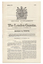 General Sir Edmund H H Allenby / Second Supplement to The London Gazette 1st ed
