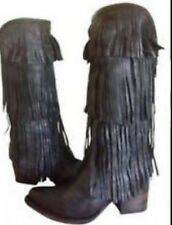 Freebird by Steven  Ranger Tall Fringed Boots Black Leather Boho NEW MSRP $350