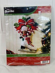 Bucilla Christmas Holiday Skate Jeweled Kit 86676 Felt Wall Hanging