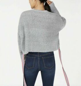 Crave Fame Juniors' Ribbon-Tie Cropped Sweater Gray with pink & blue tie (a128)